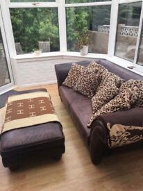 Large brown leather sofa & footstool