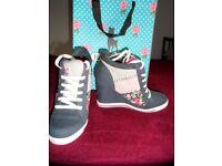 Babycham Hidden Wedge Denim Blue Trainer Boots UK5/EU38