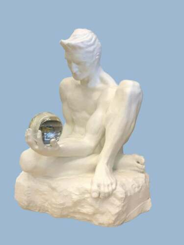 Large White Modern Sculpture Man Holding A Crystal Ball