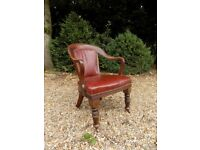 Vintage Old 1920's Mahogany & Red Leather Chair