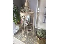 Shabby chic beautiful tea light chandelier bird cage candle holder