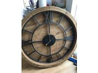 Large wood and metal clock