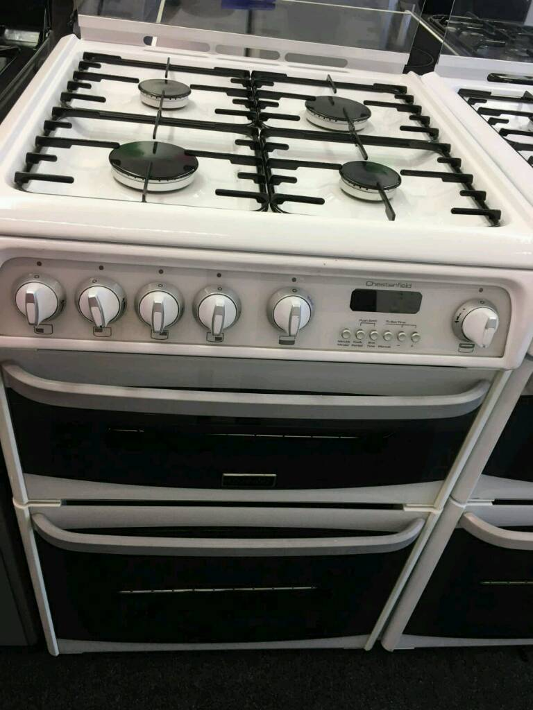 CANNON WHITE 60CM WIDE DOUBLE OVEN DUEL FUEL GAS COOKER WITH GLASS LID