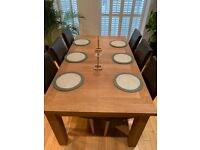 Oak Dining Table & 6 Faux-leather Chairs