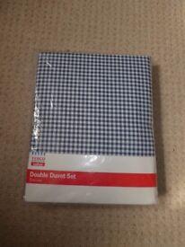 Double Duvet Set - Blue Check