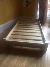 Single bed frame (white, solid wood)