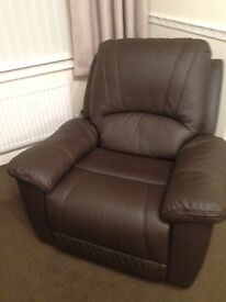 Leather Single Reclining Chair - Excellent Condition
