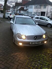 Mercedes CLK C200, Silver 2 door coupe