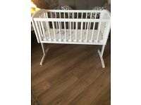 White mothercare swinging crib and mattress