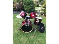 Pearl Export Drum 5 piece Red wine finish & excellent condition Zildjian ZXT cymbals/hi-hat