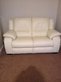 3 seater and 2 seater cream leather sofa's