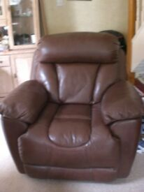 DFS LEATHER RECLINER CHAIR WALNUT BROWN