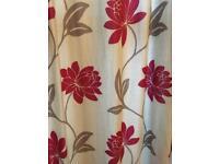 Curtains pair - red, grey, biscuit design