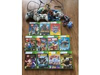 Xbox 360 plus 2 controllers and 11 games