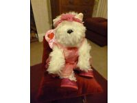 Build a Bear Scottie Dog dressed as Cupid/Fairy with wings. Says I love you