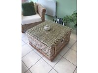Conservatory or out door furniture . 2 seater , 1 chair and square table . Excellent condition