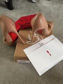 GENUINE Christian louboutin so kate 120 patent nude 39.5 perfect condition
