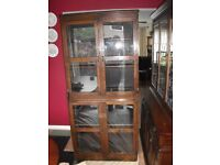ANTIQUE SOLID OAK BOOKCASE WITH ORIGINAL GLASS DOORS