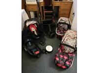 Flamingo - Cosatto 3 in 1 travel system, car seat base & mirror