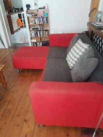 Red L shaped corner sofa