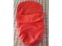 Red footmuff for pushchair
