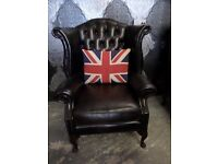 Stunning Chesterfield Queen Anne Wing Back Dark Brown Leather Arm Chair - UK Delivery