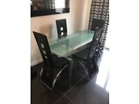 Glass extension table and chairs