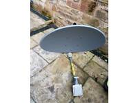 Satelite Dish and receiver with wall mount