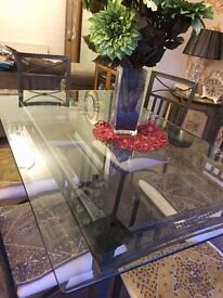 Glass Dining Table with 6 Iron Chairs