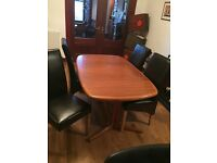 Dining Room Table (solid teak) and 4 chairs