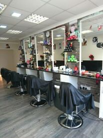 This shop is already barber. And that barber will including all stuff and mirror and chairs .