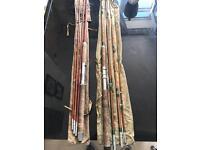 2 x vintage cane fishing rods