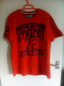 Super dry t shirt excellent condition in orange and blue