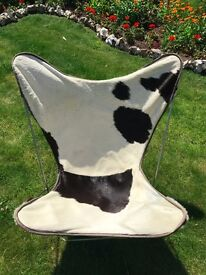 Cow hide leather beautiful black and white butterfly chair