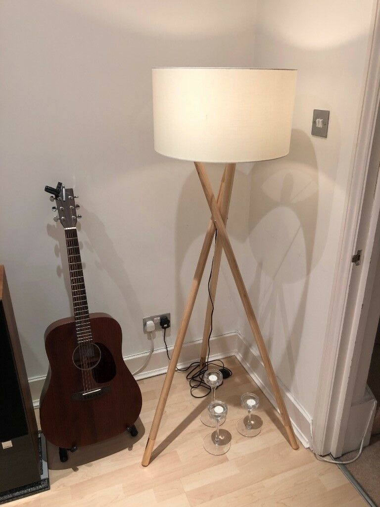 Albany Wooden Tripod Floor Lamp With Natural Finish From