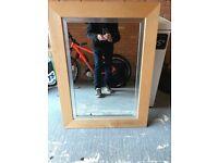 Large Wall Mirror 29 x 39 inch Light Wood Beech Silver Insert