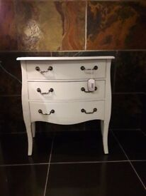 Bombe shaped 3 drawer chest