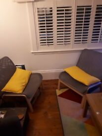 2 Ikea chairs with cushions