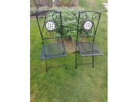 2 Steel folding garden chairs