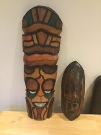 Real wooden authentic African masks
