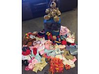 Bear and case and Assortment of Bear Factory / Build a Bear clothes