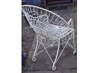 Three x Powder-Coated Off-White Steel Garden Chairs