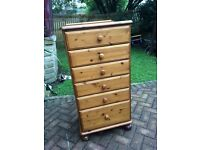 TALL VICTORIA PINE 6 DRAWER CHEST BY DUCAL