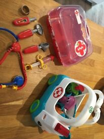 Leapfrog toy ambulance. Doctors case kit bag. Immaculate