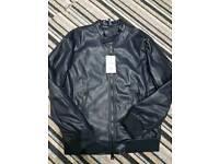 Zara faux leather jacket - large navy blue - Brand new