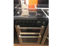 60CM STAINLESS STEEL/BLACK HOTPOINT ELECTRIC COOKER