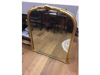 Gold effect overmantle mirror