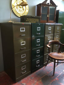 Vintage Industrial Steel Office Filing Cabinet, Mid Century.