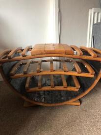 Solid wood half barrel rustic wine rack holder