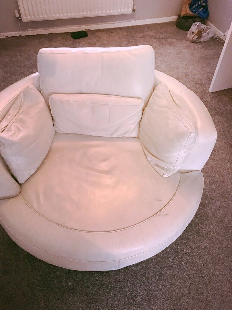 White Real Leather 3 Seater Sofa Footstool And Cuddle